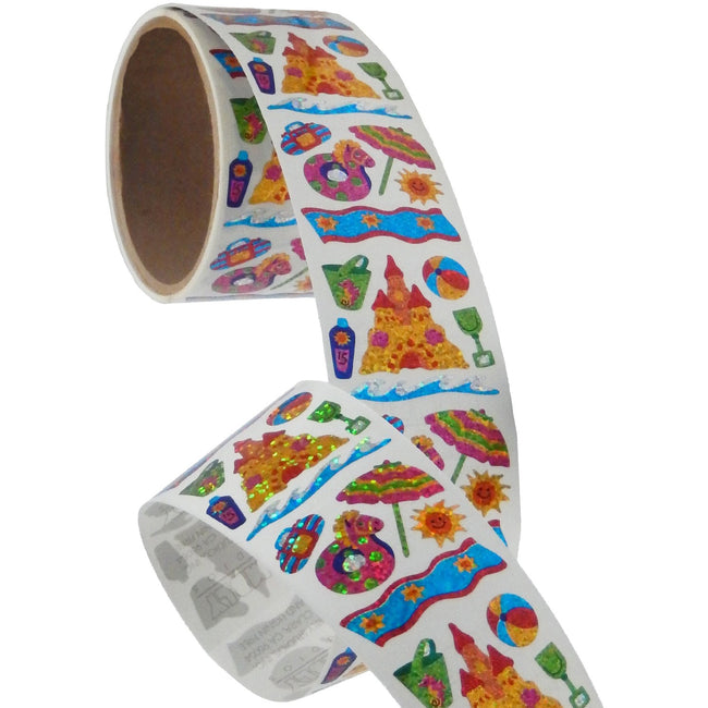 Jillson & Roberts Bulk Roll Prismatic Stickers, Mini Beach Fun (50 Repeats) - Present Paper