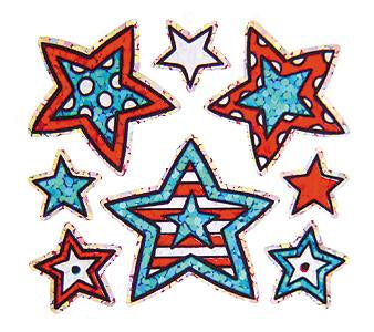 Jillson & Roberts Bulk Roll Prismatic Stickers, Mini Pattern Stars / Patriotic (100 Repeats) - Present Paper