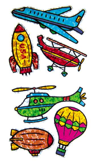 Jillson & Roberts Bulk Roll Prismatic Stickers, Flying Machines (50 Repeats) - Present Paper