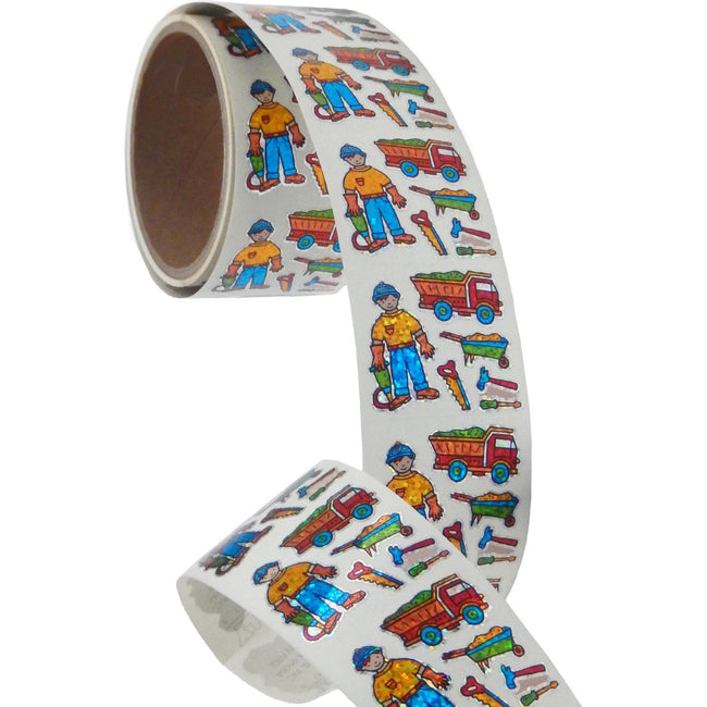 Jillson & Roberts Bulk Roll Prismatic Stickers, Mini Construction Worker (100 Repeats) - Present Paper