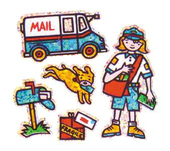 Jillson & Roberts Bulk Roll Prismatic Stickers, Mini Postal Worker (100 Repeats) - Present Paper