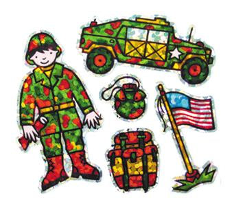 Jillson & Roberts Bulk Roll Prismatic Stickers, Mini Military Soldier (100 Repeats) - Present Paper