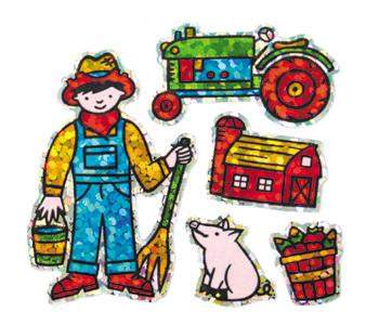 Jillson & Roberts Bulk Roll Prismatic Stickers, Mini Farmer (100 Repeats) - Present Paper