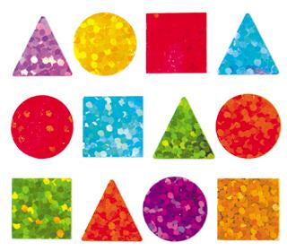Jillson & Roberts Bulk Roll Prismatic Stickers, Micro Geo Shapes / Multi (100 Repeats) - Present Paper