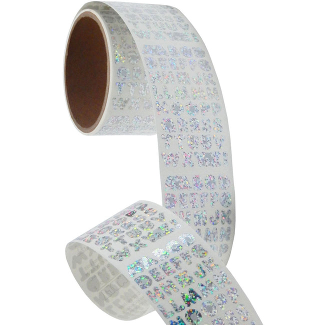 Bulk Roll Prismatic Stickers, Silver Alphabets (50 Repeats)