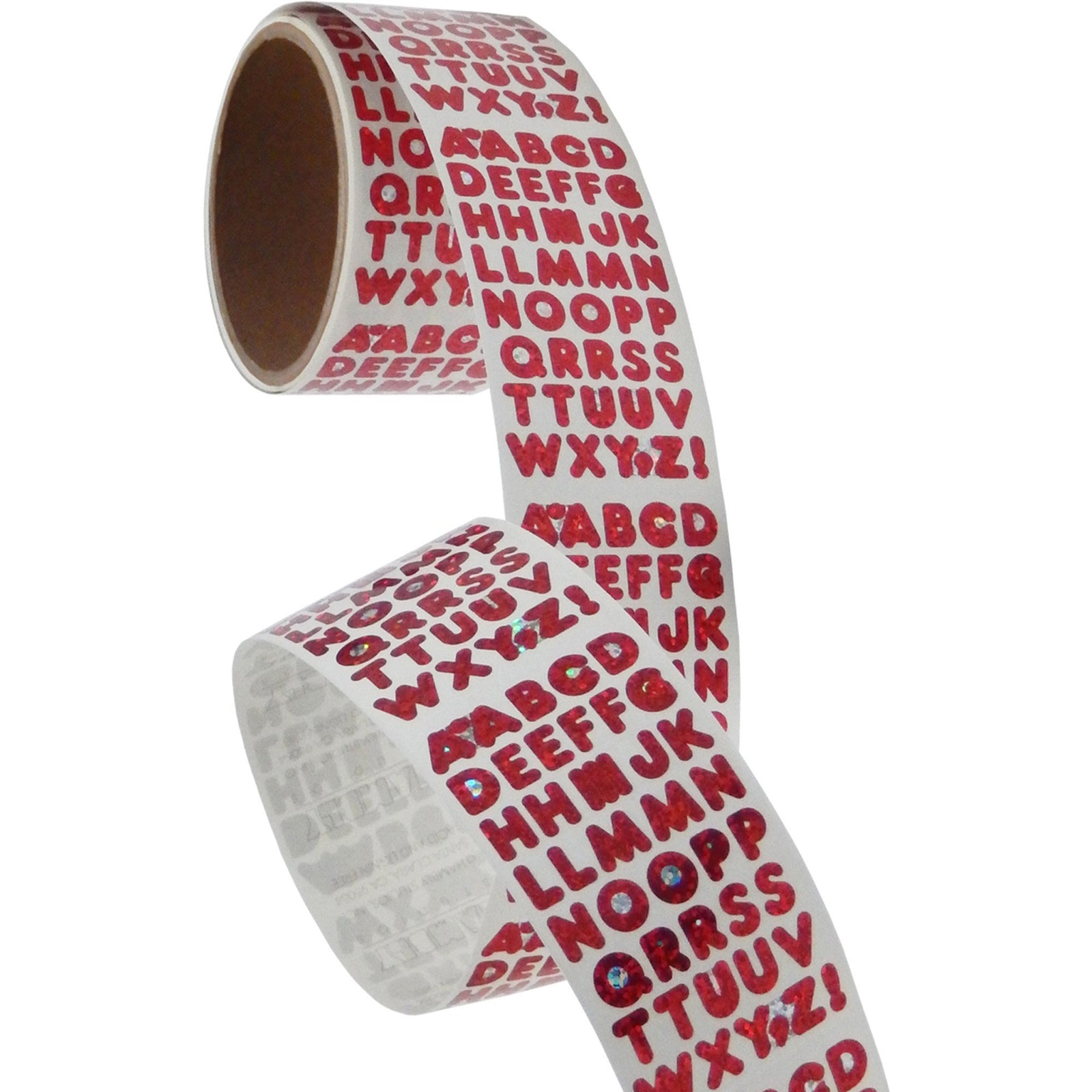 Bulk Roll Prismatic Stickers, Red Alphabets (50 Repeats)
