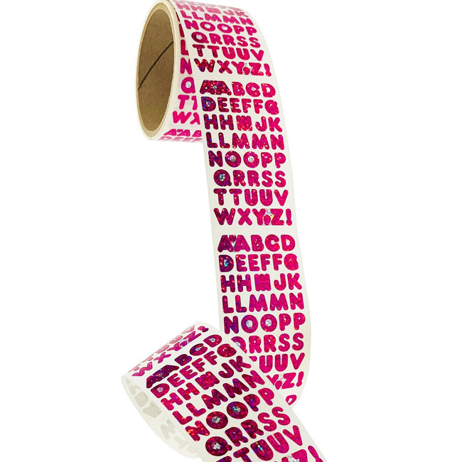 Bulk Roll Prismatic Stickers, Pink Alphabets (50 Repeats)