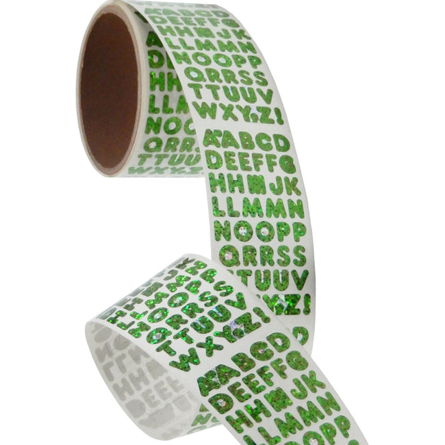 Bulk Roll Prismatic Stickers, Green Alphabets (50 Repeats)