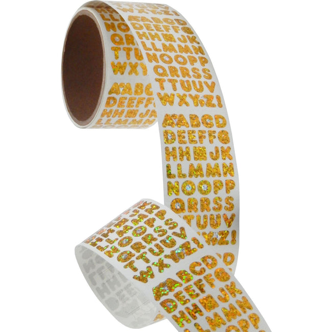 Bulk Roll Prismatic Stickers, Gold Alphabets (50 Repeats)