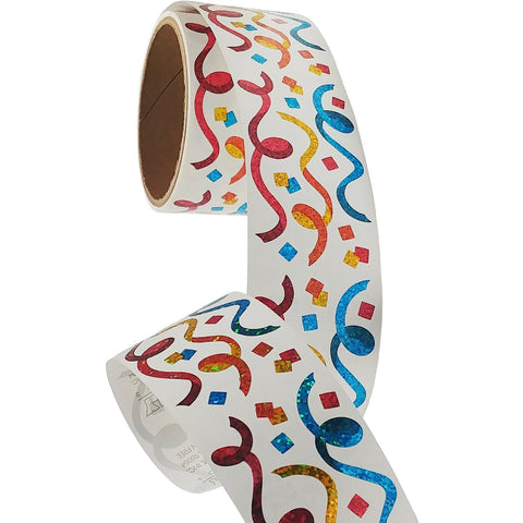 Bulk Roll Prismatic Stickers, Streamers, Confetti / Gold, Silver (50 Repeats)