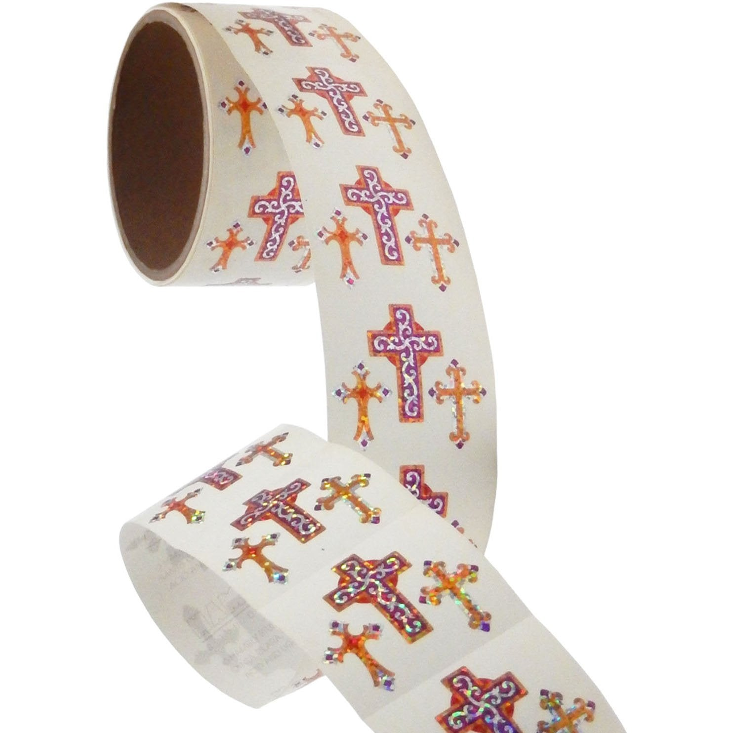 Jillson & Roberts Bulk Roll Prismatic Stickers, Crosses (100 Repeats) - Present Paper