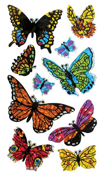 Jillson & Roberts Bulk Roll Prismatic Stickers, Assorted Butterflies (50 Repeats) - Present Paper