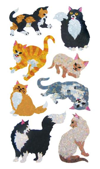 Bulk Roll Prismatic Stickers, Cats & Kittens (50 Repeats)