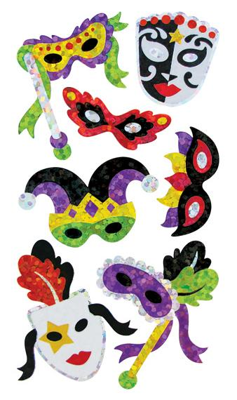 Jillson & Roberts Bulk Roll Prismatic Stickers, Masquerade Masks / Multicolor (50 Repeats) - Present Paper