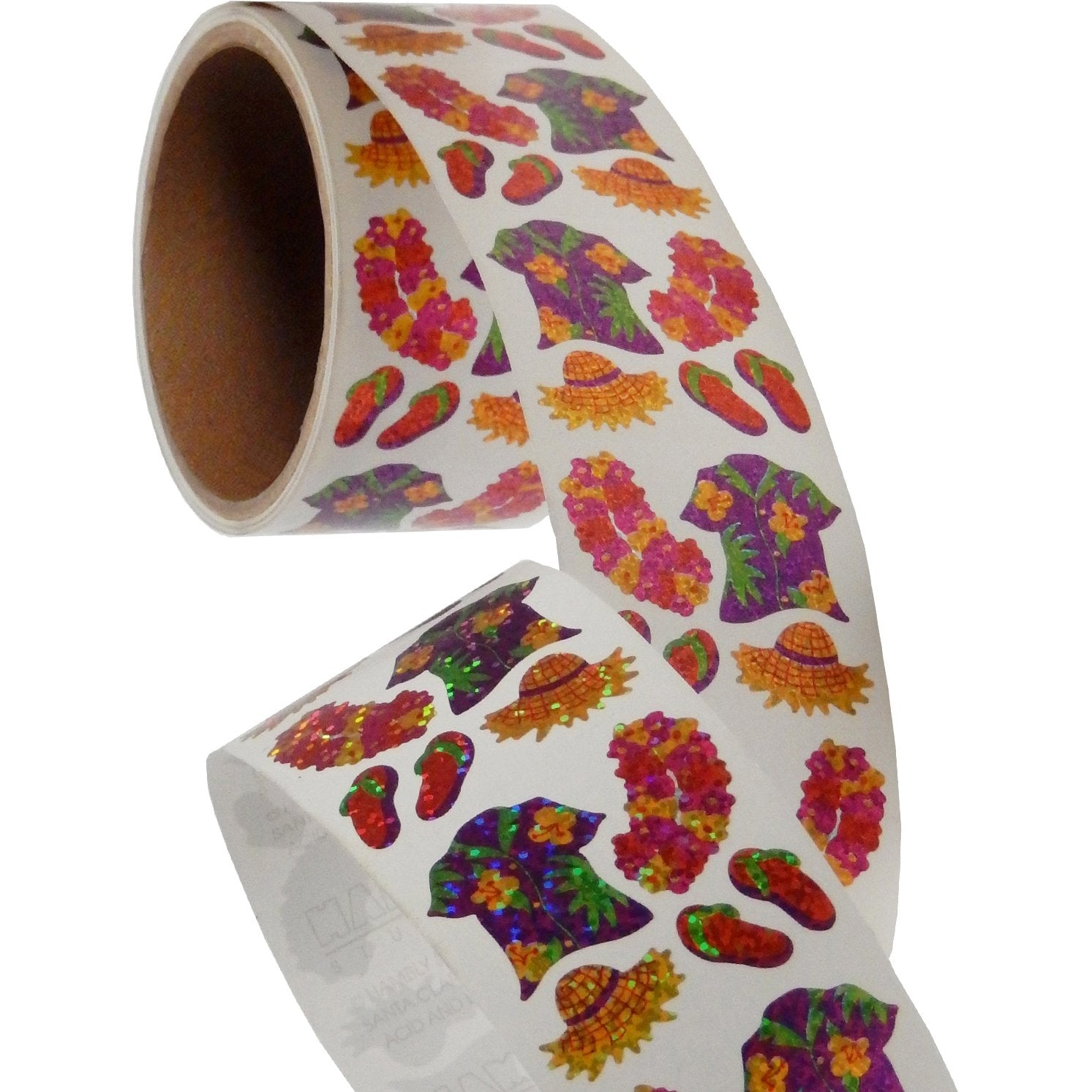 Jillson & Roberts Bulk Roll Prismatic Stickers, Mini Hawaii Shirt / Lei (100 Repeats) - Present Paper