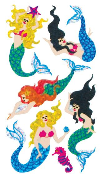 Jillson & Roberts Bulk Roll Prismatic Stickers, Mermaids (50 Repeats) - Present Paper