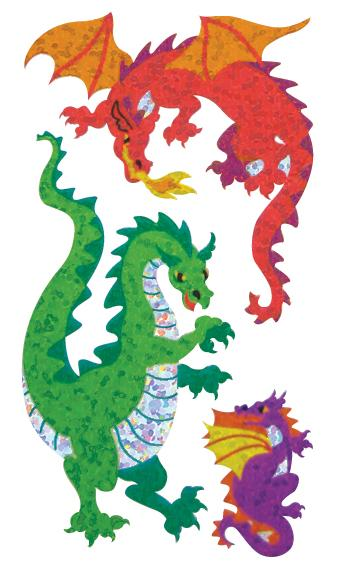 Jillson & Roberts Bulk Roll Prismatic Stickers, Dragons (50 Repeats) - Present Paper