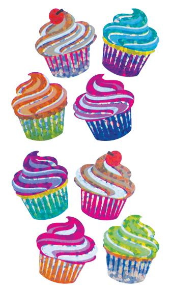 Jillson & Roberts Bulk Roll Prismatic Stickers, Mini Cupcakes (50 Repeats) - Present Paper