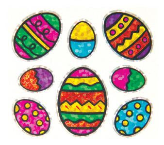 Jillson & Roberts Bulk Roll Prismatic Stickers, Mini Easter Eggs w/ Outline (100 Repeats) - Present Paper