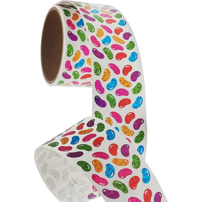 Jillson & Roberts Bulk Roll Prismatic Stickers, Micro Jelly Beans (100 Repeats)