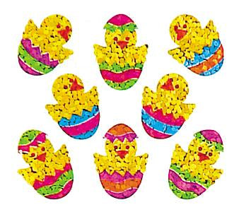 Jillson & Roberts Bulk Roll Prismatic Stickers, Mini Chicks in Eggs (100 Repeats) - Present Paper