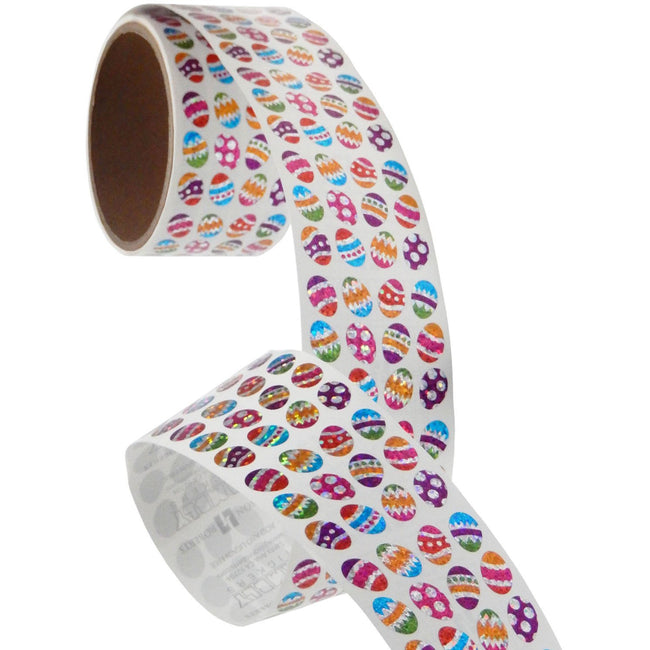 Jillson & Roberts Bulk Roll Prismatic Stickers, Micro Easter Eggs (100 Repeats) - Present Paper