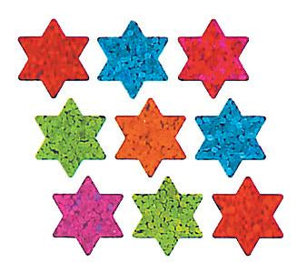 Jillson & Roberts Bulk Roll Prismatic Stickers, Micro Stars of David / Multicolor (100 Repeats) - Present Paper