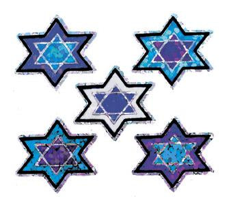 Jillson & Roberts Bulk Roll Prismatic Stickers, Mico Stars of David (100 Repeats)