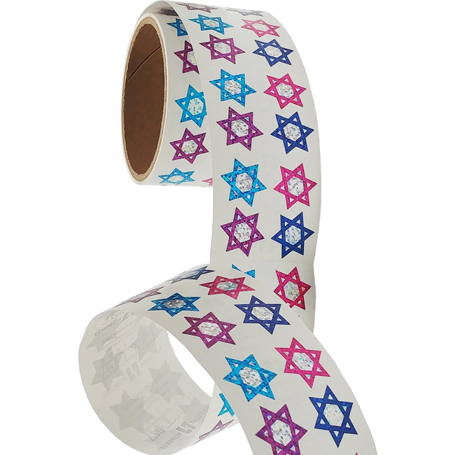 Jillson & Roberts Bulk Roll Prismatic Stickers, Mini Stars of David (100 Repeats)