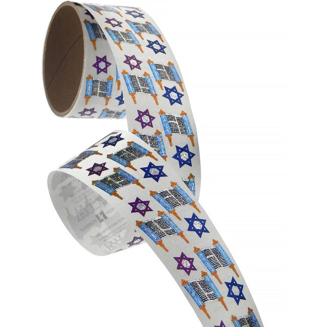 Jillson & Roberts Bulk Roll Prismatic Stickers, Mini Torahs (100 Repeats)