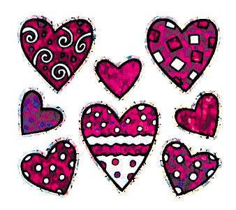 Jillson & Roberts Bulk Roll Prismatic Stickers, Mini Valentine Pattern Hearts (100 Repeats) - Present Paper