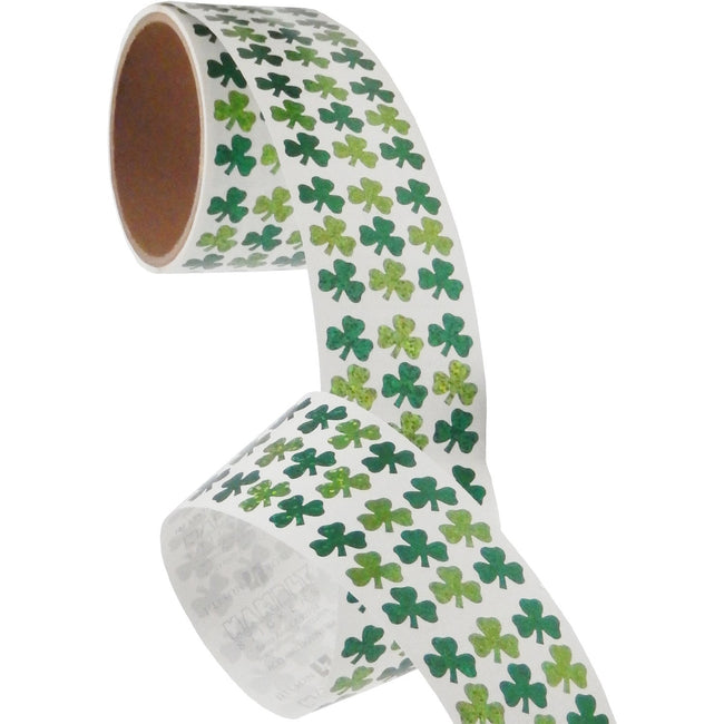 Jillson & Roberts Bulk Roll Prismatic Stickers, Micro Shamrocks (100 Repeats) - Present Paper