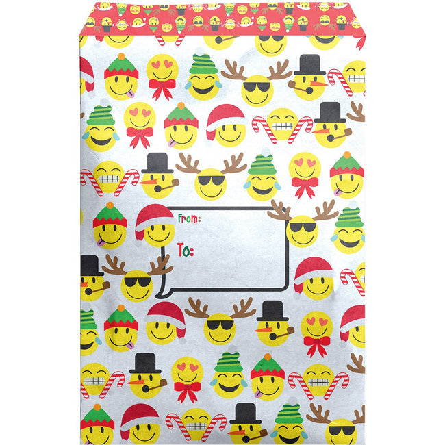 Large Christmas Printed Padded Mailing Envelopes, Emojis (24 Pieces)