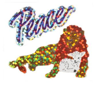 Jillson & Roberts Bulk Roll Prismatic Stickers, Peace / Lion & Lamb (100 Repeats) - Present Paper