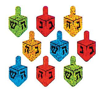 Bulk Roll Prismatic Stickers, Hanukkah Multicolor Dreidels (100 Repeats)