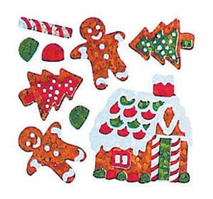 Jillson & Roberts Bulk Roll Prismatic Stickers, Mini Gingerbread House / Cookies (100 Repeats) - Present Paper