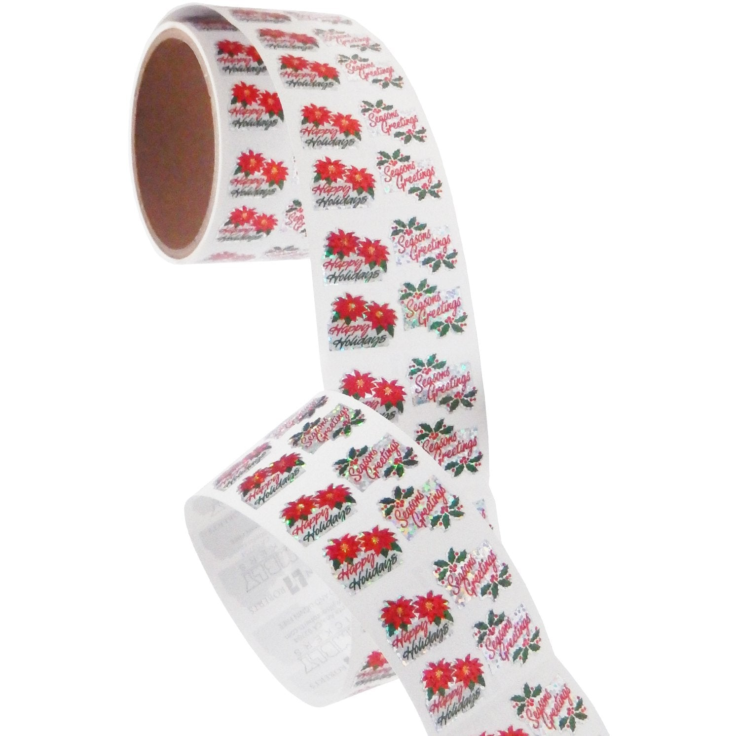 Jillson & Roberts Bulk Roll Prismatic Stickers, Happy Holidays / Seasons Greetings (100 Repeats) - Present Paper