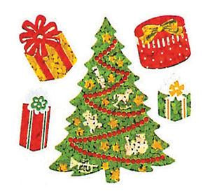 Jillson & Roberts Bulk Roll Prismatic Stickers, Mini Christmas Trees / Presents (100 Repeats) - Present Paper