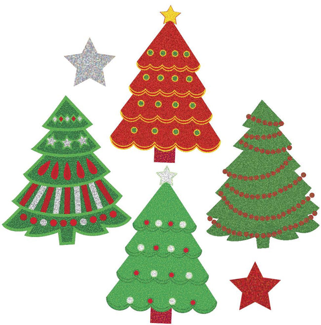 Jillson & Roberts Bulk Roll Prismatic Stickers, Mini Christmas Trees (100 Repeats) - Present Paper