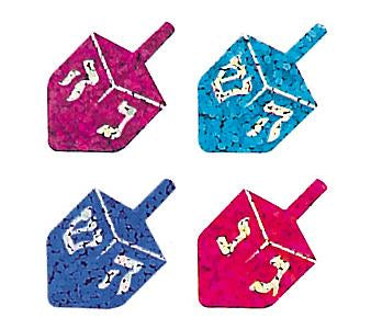 Jillson & Roberts Bulk Roll Prismatic Stickers, Mini Dreidels (100 Repeats) - Present Paper