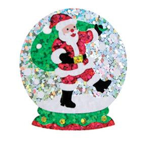 Bulk Roll Prismatic Stickers, Snow Globe / Santa (100 Repeats)