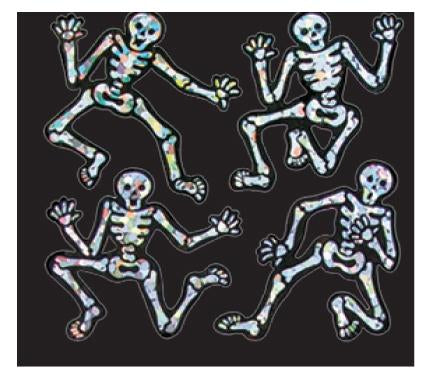 Bulk Roll Prismatic Stickers, Halloween Mini Dancing Skeletons (100 Repeats)