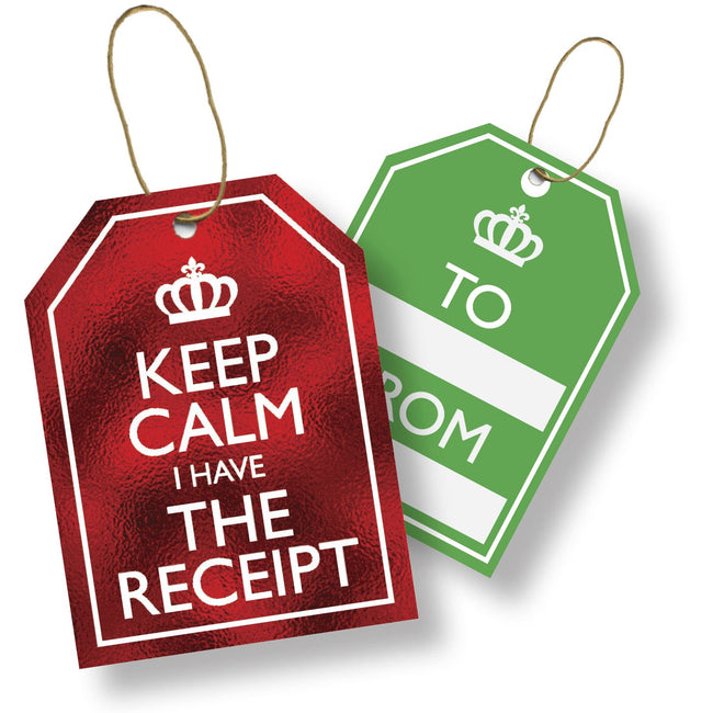 Jillson & Roberts Gift Tags with Tie String, Keep Calm (100 Pcs)