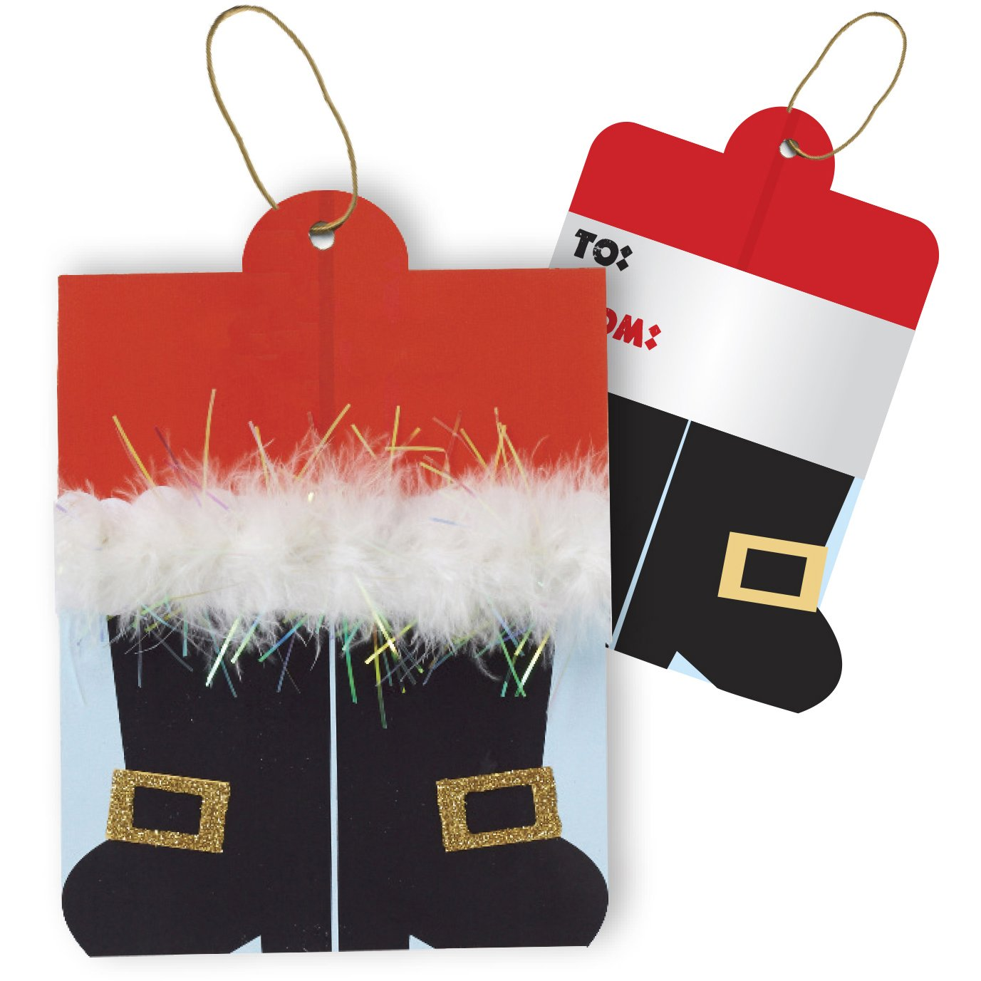 Jillson & Roberts Gift Tags with Tie String, Santa's Boots (100 Pcs)