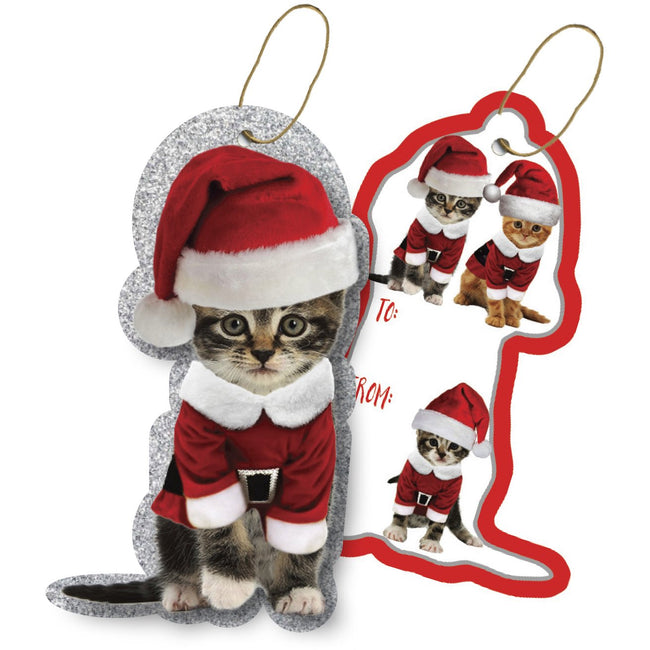 Jillson & Roberts Gift Tags with Tie String, Kitty Christmas (100 Pcs)
