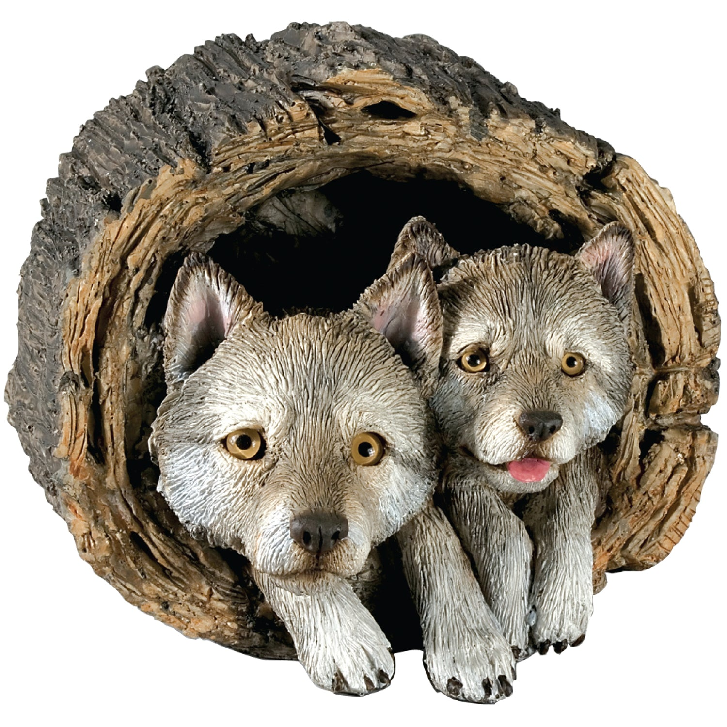 "Sandicast ""Forever Friends"" Lying Gray Wolf Pups Sculpture"