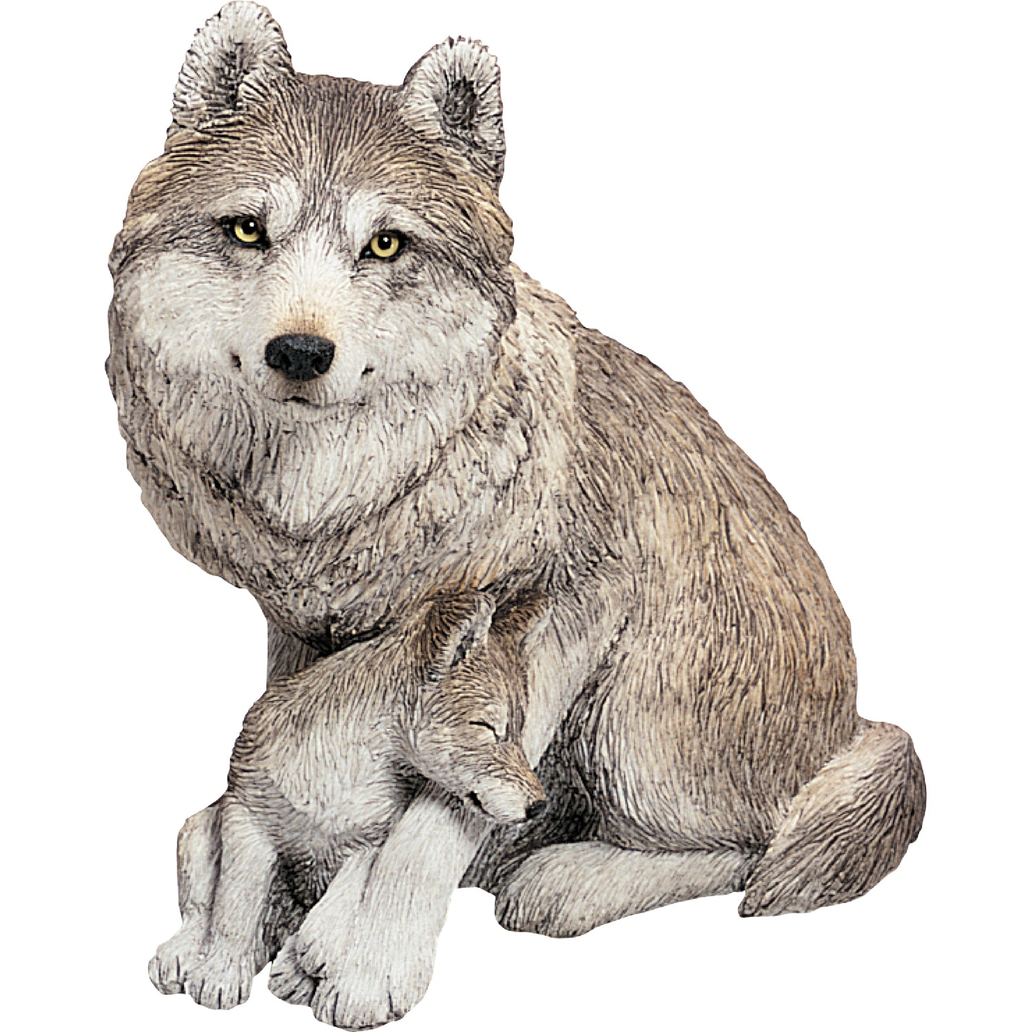 "Sandicast ""Forever Friends"" Sitting Gray Wolf & Pup Sculpture"
