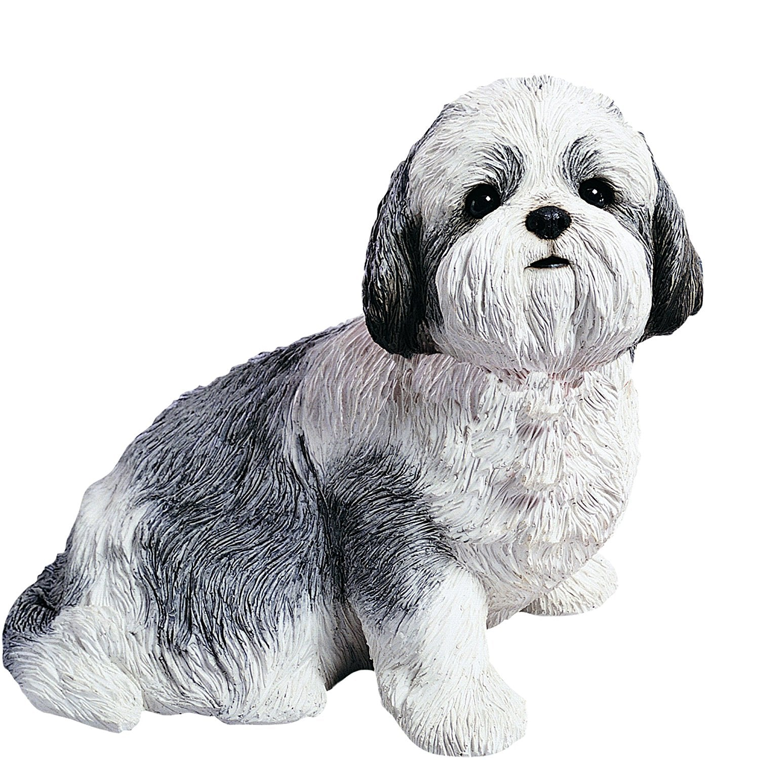 "Sandicast ""Life Size"" Sitting Silver & White Shih Tzu Dog Sculpture"