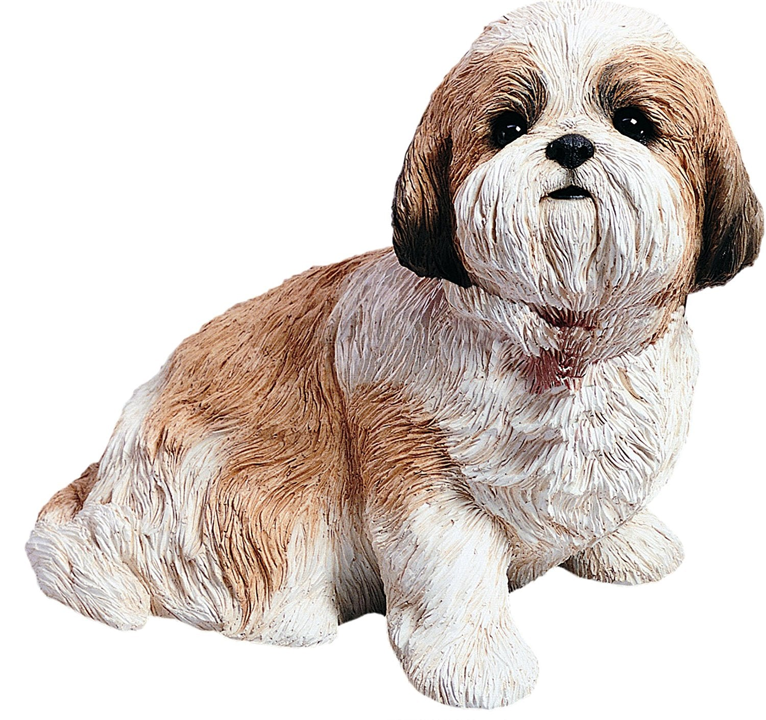 "Sandicast ""Life Size"" Sitting Gold & White Shih Tzu Dog Sculpture"