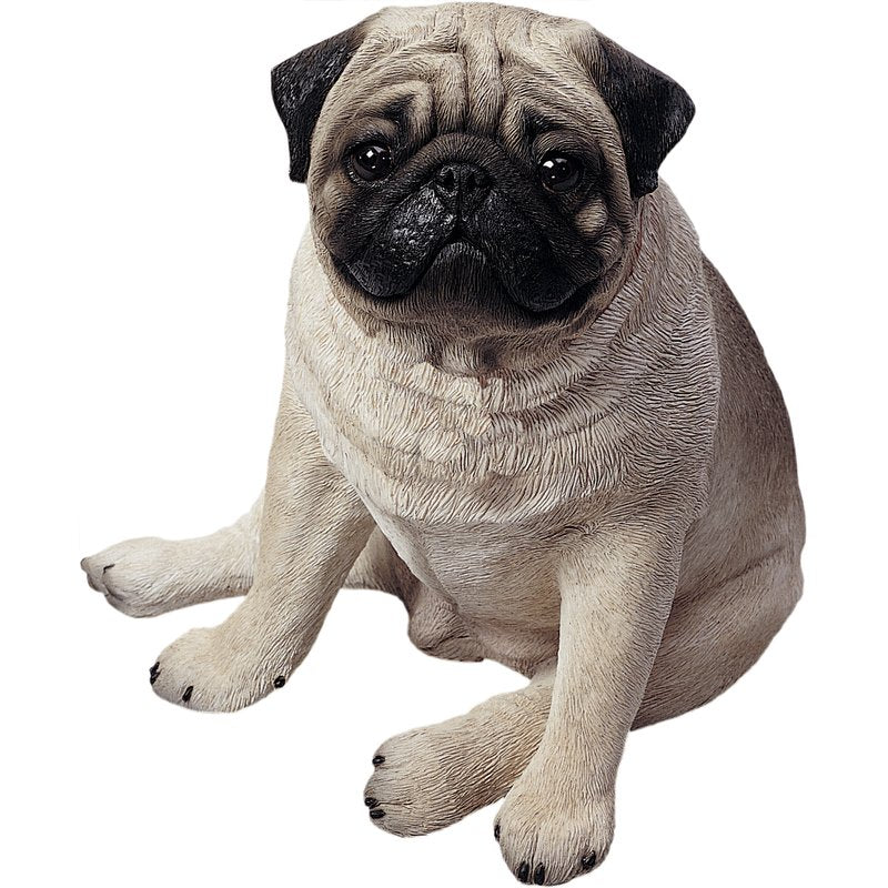 "Sandicast ""Life Size"" Sitting Fawn Pug Dog Sculpture"